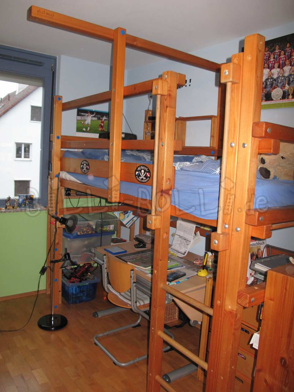 Collating high bed, 90 x 200 cm, pine oil-waxed (second hand loft bed)