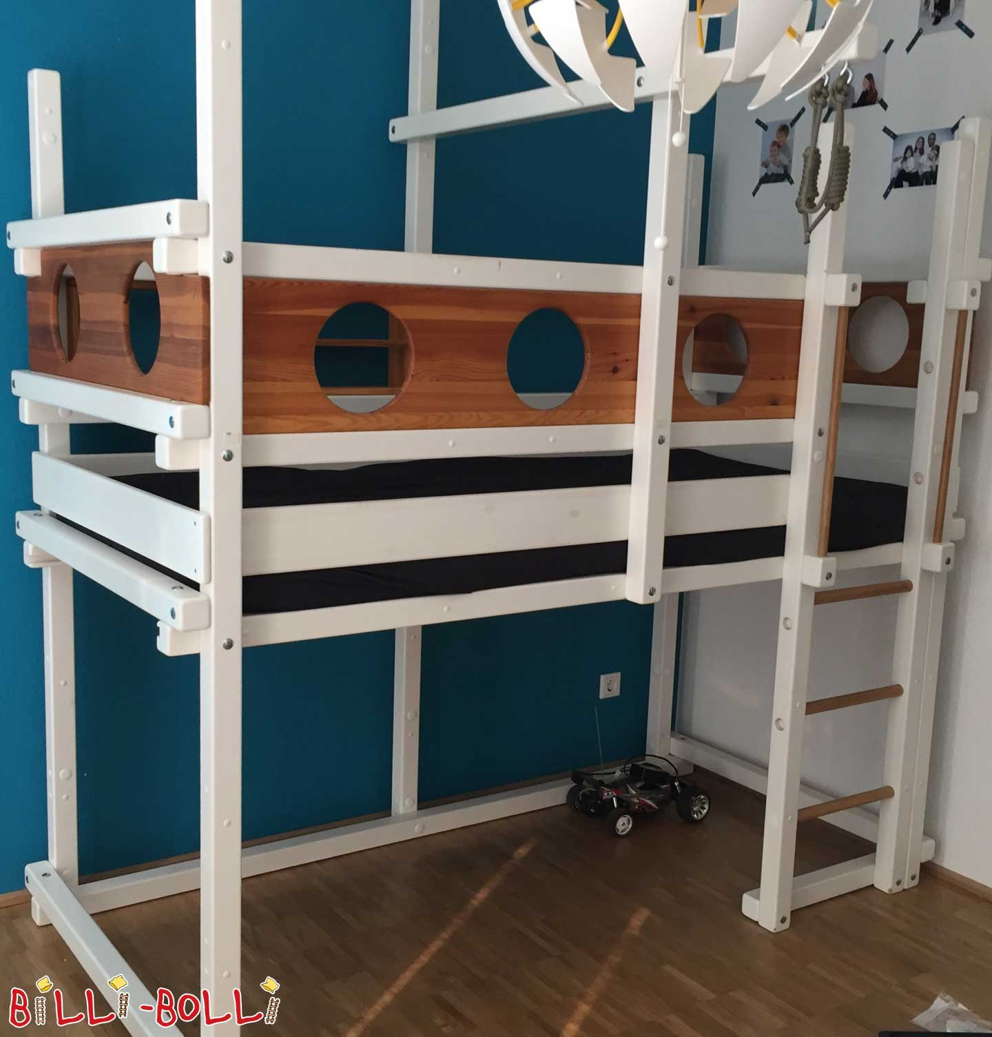Growing bunk bed 90 x 200 cm pine, white lacquered (second hand loft bed)