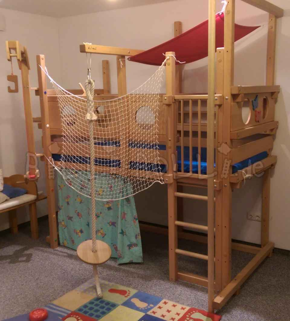 Growing bunk bed made of beech with lots of accessories (exhibition piece) (second hand loft bed)