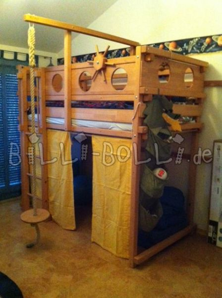 "Collacing high bed ""pirate,"" 100 x 200 in beech (oil wax treated) (second hand loft bed)"
