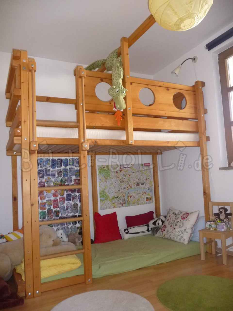 Sparse pirate bunk bed 90 x 200 cm, spruce oiled waxed (second hand loft bed)