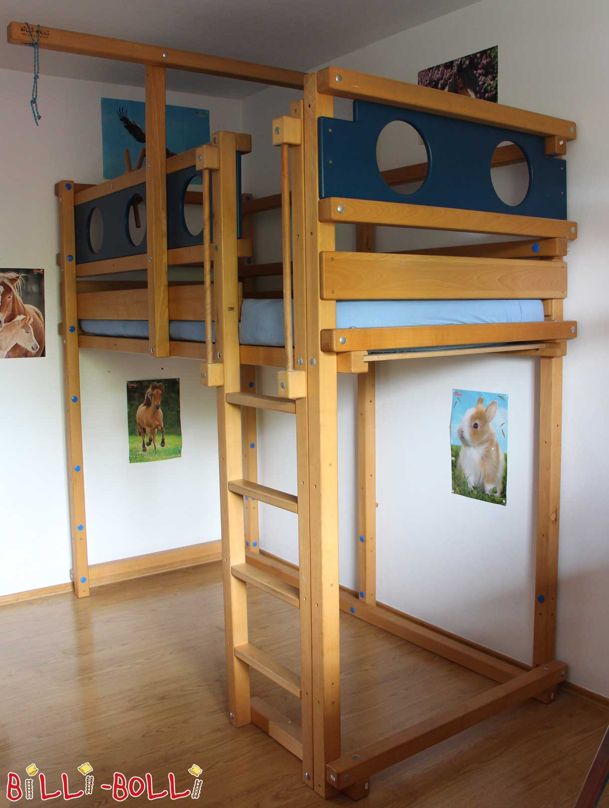 Pirate loft bed, beech oil wax treated (second hand loft bed)