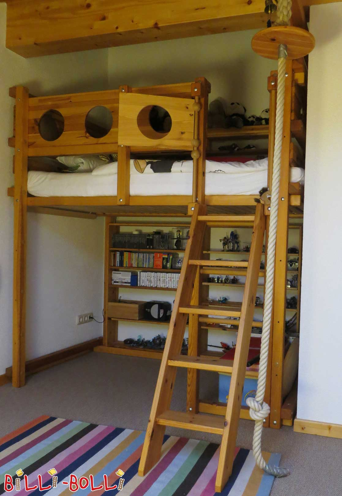 Pirate high bed, 100 x 200 cm, pine oiled-waxed (second hand loft bed)