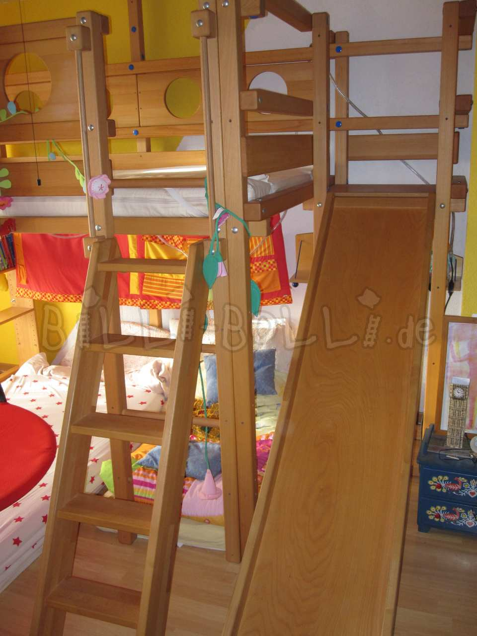 Slip tower including accessories, beech oil-waxed (second hand loft bed)
