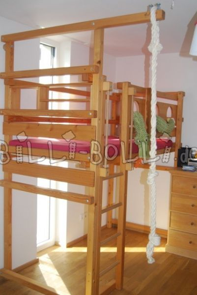 Beautiful high bed (90 x 200 cm), pine oiled (second hand loft bed)