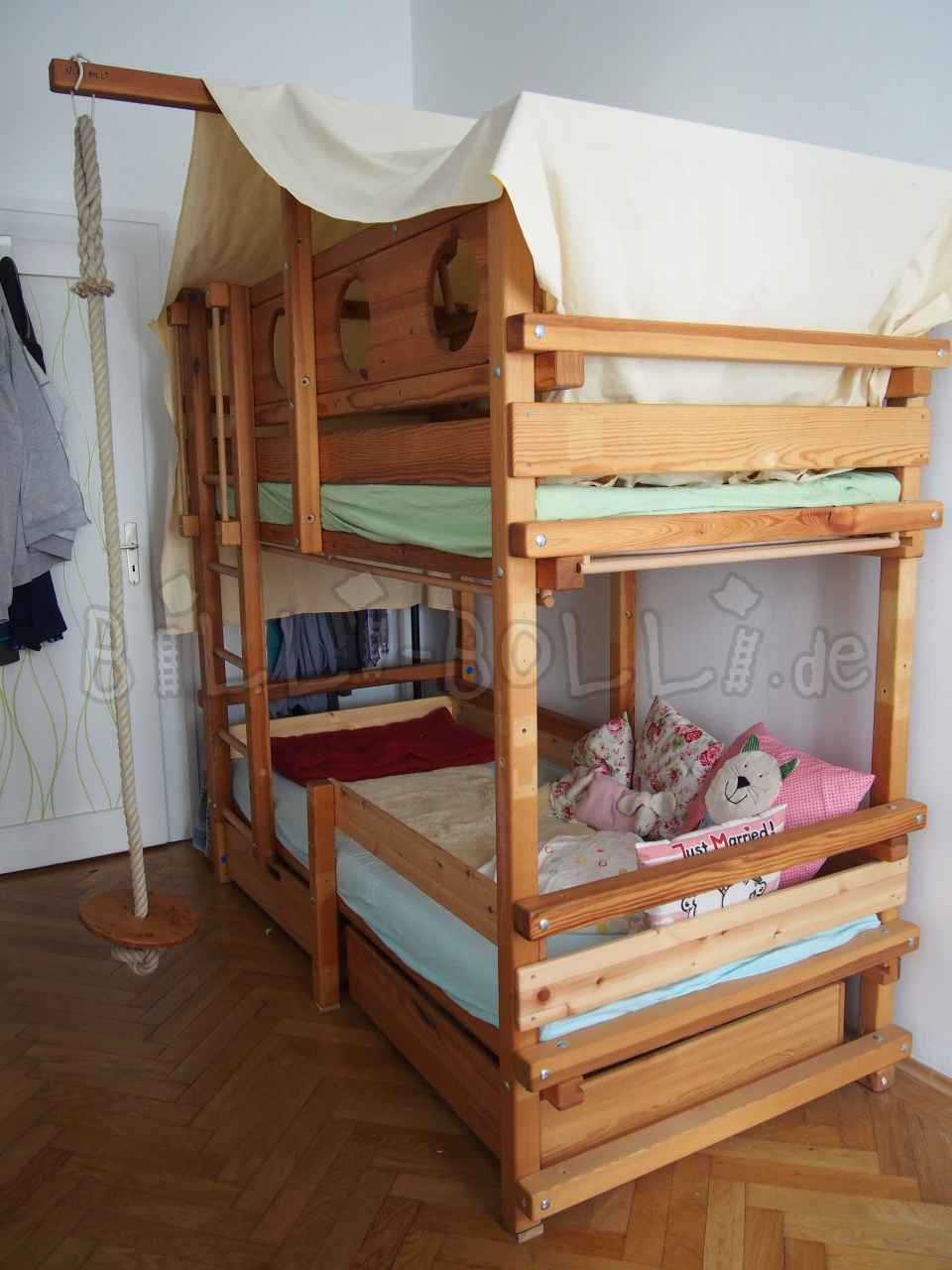 Bunk bed, 90 x 200cm, pine, oiled (second hand loft bed)