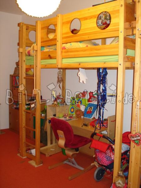 Student high bed 90x200 (second hand loft bed)